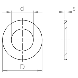 Flat brass washers ISO 7089